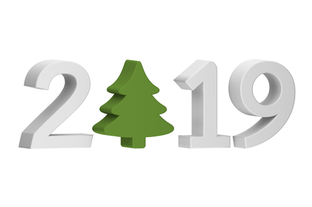 Christmas tree or conifer with numbers isolated on white for Merry Christmas or Happy New Year 2019 - cartoon 3d render flat style cute character for your creative design