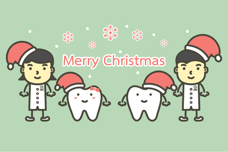 happy tooth and dentist wearing santa claus hat for Merry Christmas and Happy New Year, dental care concept - teeth cartoon vector flat style cute character for design