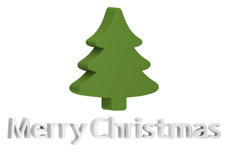 Christmas tree or conifer with text isolated on white for Merry Christmas or Happy New Year - cartoon 3d render flat style cute character for your creative design