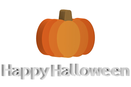 Halloween pumpkin with text isolated on white for Happy Halloween - cartoon 3d render flat style cute character for your creative design