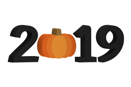 Halloween pumpkin with numbers isolated on white for Happy Halloween 2019 - cartoon 3d render flat style cute character for your creative design