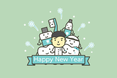 happy tooth and friends with male dentist with text for Happy New Year, dental care concept - teeth cartoon vector flat style cute character for design