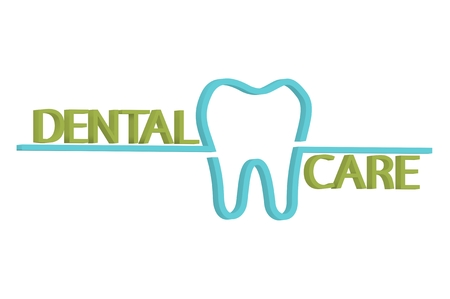 DENTAL CARE word and tooth - teeth cartoon 3d render flat style cute character for design