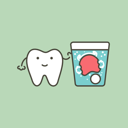 dental braces cleaning, tooth and orthodontics retainer with effervescent tablet in water glass - teeth cartoon vector flat style cute character for design