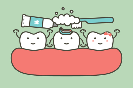brushing teeth, tooth boy and girl cleaning them friend - dental cartoon vector flat style cute character for design