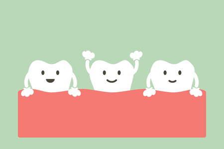 healthy tooth - dental cartoon vector flat style cute character for design Illustration