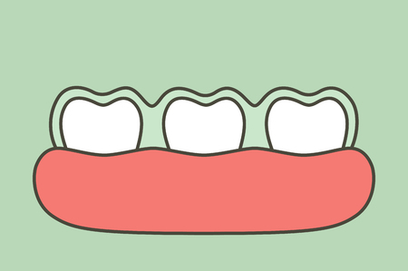 teeth wear silicone trainer or invisible braces, dental health concept - tooth cartoon vector flat style cute character for design Illustration