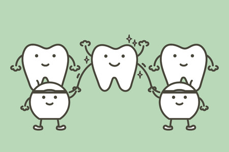 cleaning teeth by dental floss, dental health care - tooth cartoon vector flat style cute character for design Illustration