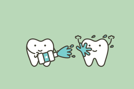 healthy teeth cleaning his friend by mouthwash, dental health care - tooth cartoon vector flat style cute character for design