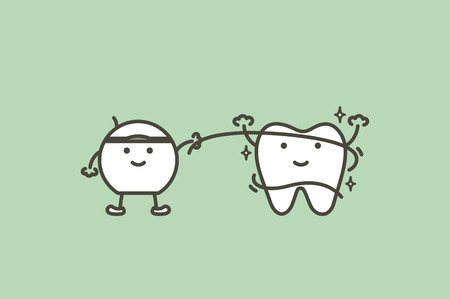 cleaning teeth by dental floss, dental health care - tooth cartoon vector flat style cute character for design Ilustrace