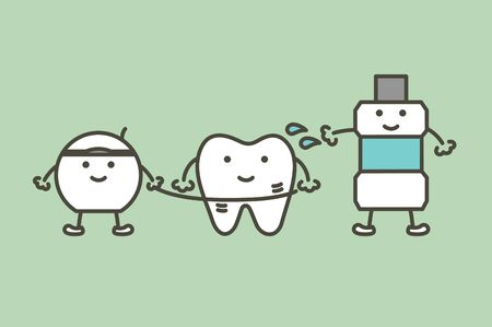 cleaning teeth by dental floss and mouthwash, dental health care - tooth cartoon vector flat style cute character for design