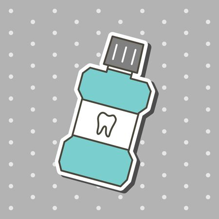 mouthwash for cleaning teeth - dental cartoon vector flat style cute character for design Illustration