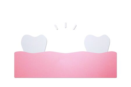 missing tooth, space between teeth in mouth - dental cartoon paper cut style cute character for design