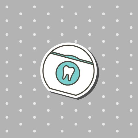 dental floss for cleaning teeth - tooth cartoon vector flat style cute character for design