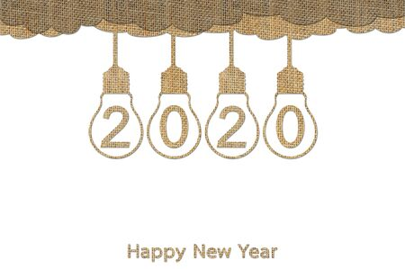 Happy New Year 2020, hanging lightbulb on sky with number isolated on white - design from sackcloth