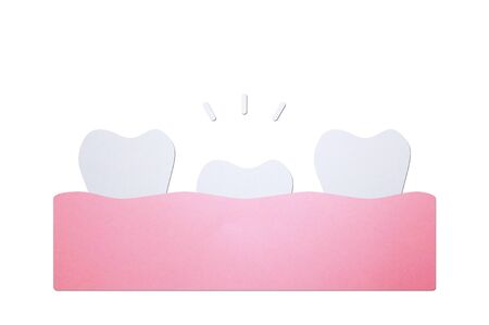 first tooth, tooth growing up from gum and other teeth - dental cartoon paper cut style cute character for design