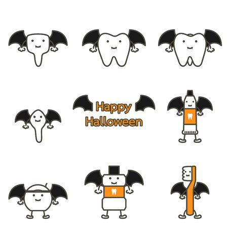 happy tooth, toothbrush, toothpaste, mouthwash and dental floss with bat wing and vampire fang for Happy Halloween - teeth cartoon vector flat style cute character for design