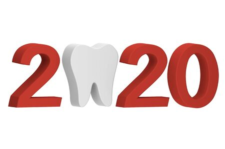 Happy New Year or Merry Christmas 2020, tooth with number isolated on white - dental cartoon 3d render flat style cute character for design