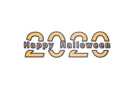 2020 number with Happy Halloween word - paper cut style cute character for design