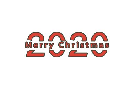 2020 number with Merry Christmas word - vector flat style cute character for design