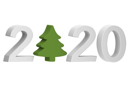 Happy New Year or Merry Christmas 2020, Christmas tree or conifer with number isolated on white - cartoon 3d render flat style cute character for design Фото со стока