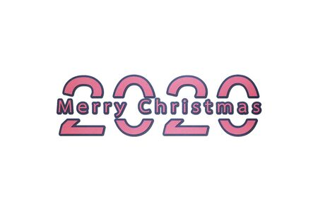 2020 number with Merry Christmas word - paper cut style cute character for design Фото со стока