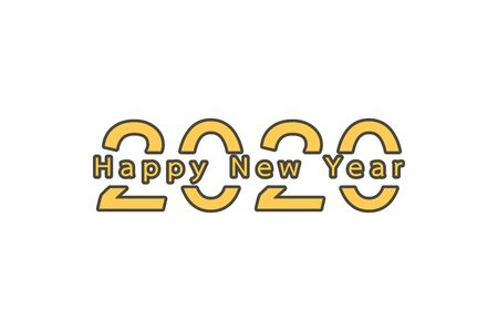 2020 number with Happy New Year word - vector flat style cute character for design