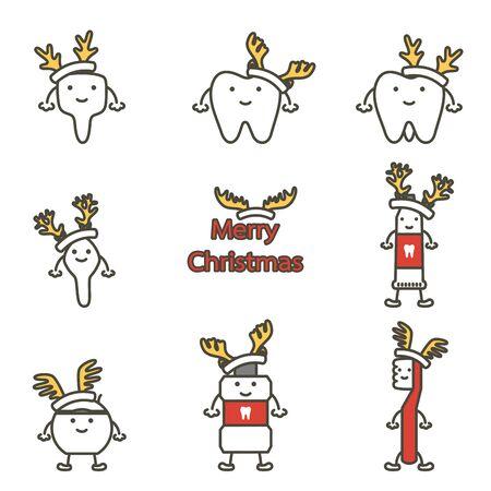 happy tooth, toothbrush, toothpaste, mouthwash and dental floss with deer antler for Merry Christmas - teeth cartoon vector flat style cute character for design 向量圖像