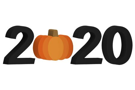 Happy Halloween 2020, Halloween pumpkin with number isolated on white - cartoon 3d render flat style cute character for design