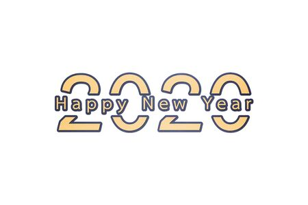 2020 number with Happy New Year word - paper cut style cute character for design