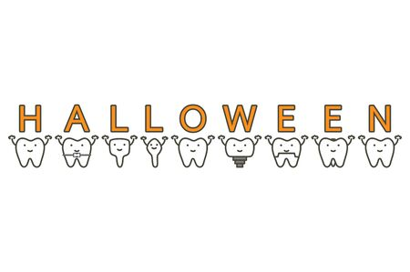 tooth with Happy Halloween word - dental cartoon vector flat style cute character for design Иллюстрация