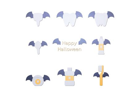 happy tooth, toothbrush, toothpaste, mouthwash and dental floss with bat wing and vampire fang for Happy Halloween - teeth cartoon paper cut style cute character for design