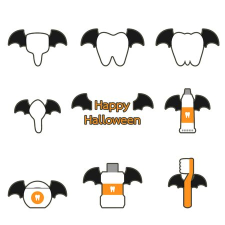 tooth, toothbrush, toothpaste, mouthwash and dental floss with bat wing for Happy Halloween - teeth cartoon vector flat style cute character for design Иллюстрация