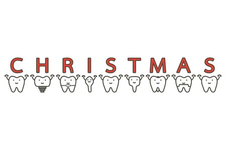 tooth with Merry Christmas word - dental cartoon vector flat style cute character for design Иллюстрация