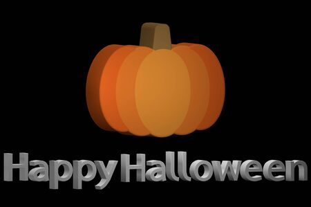 Happy Halloween, Halloween pumpkin with text isolated on black - cartoon 3d render flat style cute character for design