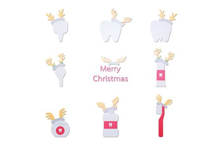 happy tooth, toothbrush, toothpaste, mouthwash and dental floss with deer antler for Merry Christmas - teeth cartoon paper cut style cute character for design Фото со стока