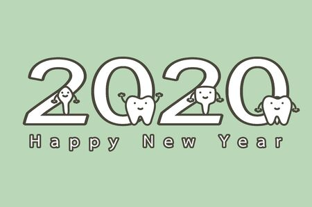 Happy New Year 2020, tooth with number and text - dental cartoon vector flat style cute character for design