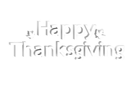 white Happy Thanksgiving word with leaf isolated on white background - typography 3d render flat style cute character for design
