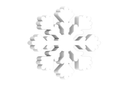 white snowflake for Merry Christmas - 3d render flat style cute character for design
