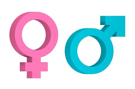 Gender symbol to indicate male and female, sex icon - 3d render flat style cute character for design