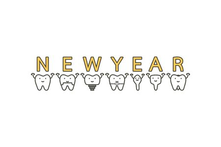 tooth with Happy New Year word - dental cartoon vector flat style cute character for design