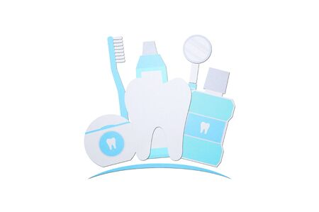 healthy tooth logo with toothbrush toothpaste mouthwash floss and dentist tools, dental care - teeth cartoon paper cut style cute character for design