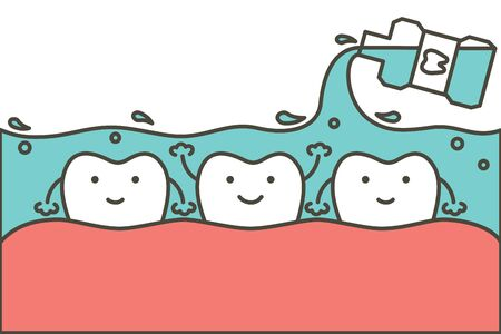 cleaning teeth by mouthwash, dental health care - tooth cartoon vector flat style cute character for design