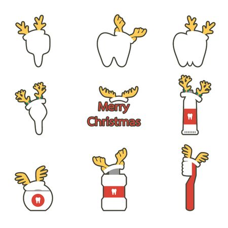 tooth, toothbrush, toothpaste, mouthwash and dental floss with deer antler for Merry Christmas - teeth cartoon vector flat style cute character for design Иллюстрация