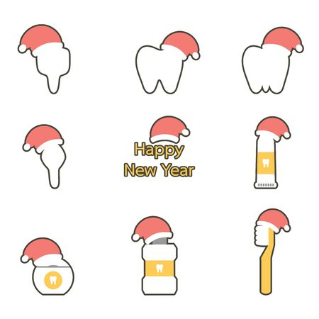 tooth, toothbrush, toothpaste, mouthwash and dental floss with santa claus hat for Merry Christmas and Happy New Year - teeth cartoon vector flat style cute character for design