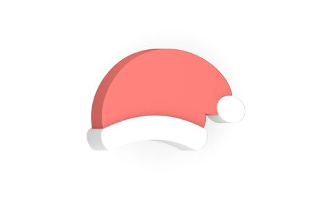 santa claus hat for Merry Christmas and Happy New Year - 3d render flat style cute character for design Фото со стока
