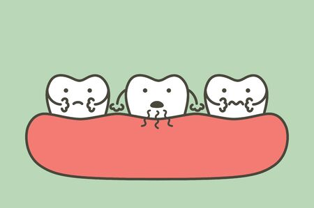 tooth is halitosis or bad breath - dental cartoon vector flat style cute character for design