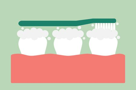brushing teeth on gum and tooth - dental cartoon vector flat style cute character for design