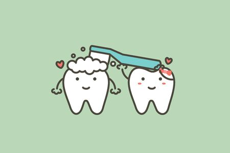 tooth is holding toothbrush and toothpaste to brushing teeth for friend - dental cartoon vector flat style cute character for design Иллюстрация