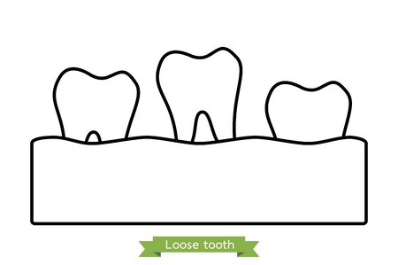 loose tooth, tooth is fall out of the gum - dental cartoon vector outline flat style cute character for design Фото со стока - 140610361
